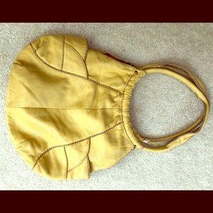 Lucky brand yellow leather hobo bag